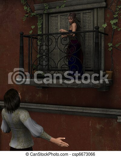 Romeo and Juliet - balcony scene - csp6673066