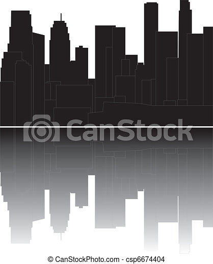 los angeles skyline - csp6674404