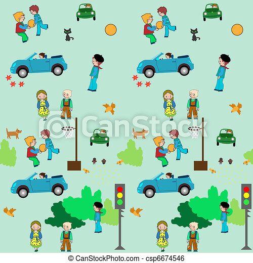 Kids Town Logo Kids Town Cartoon Seamless
