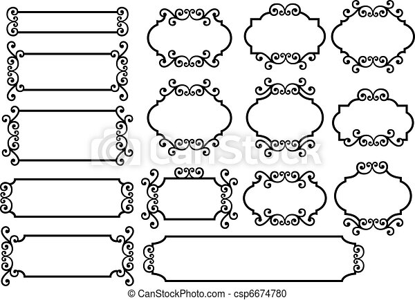 vektor clipart von vektor etiketten etiketten mit blumen verzierung csp6674780. Black Bedroom Furniture Sets. Home Design Ideas