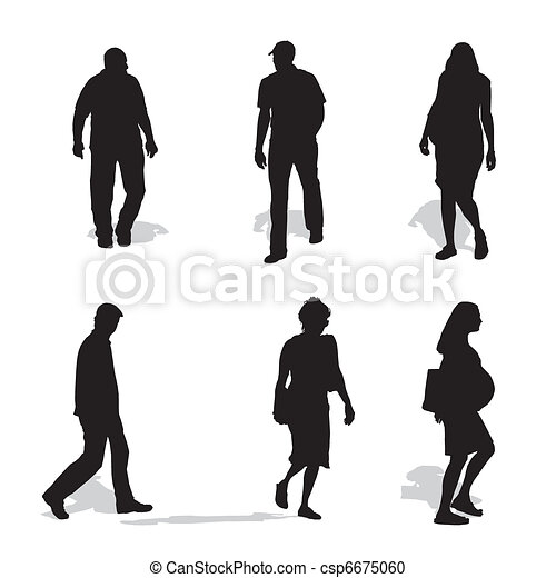 men and women walking, vector silhouettes - csp6675060