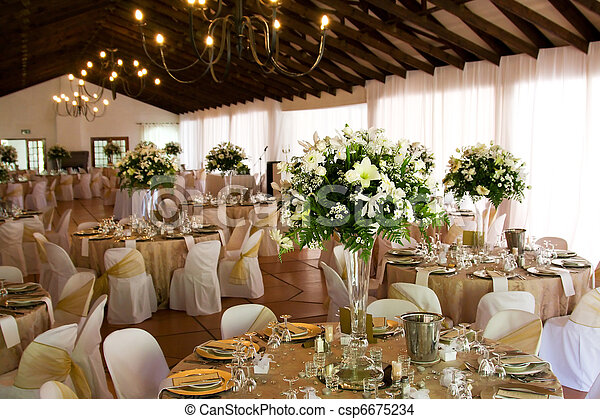 Indoors wedding reception venue with decor - csp6675234