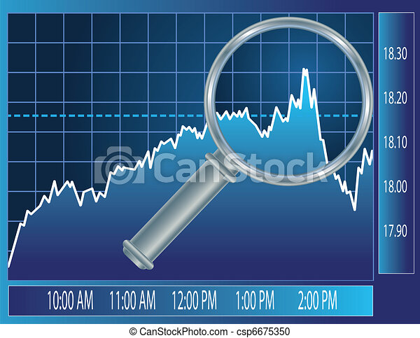 Stock market trend under magnifier glass - csp6675350