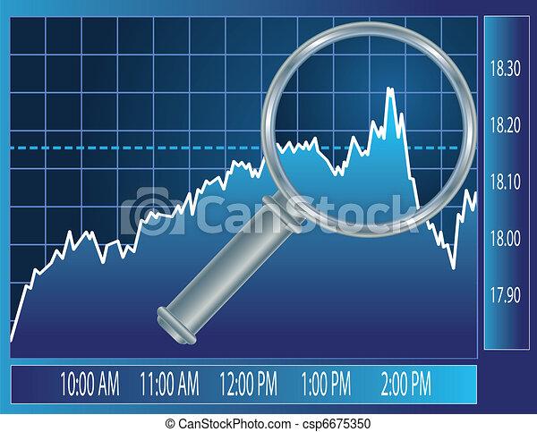 Stock market trend under magnifier glass - csp6675350