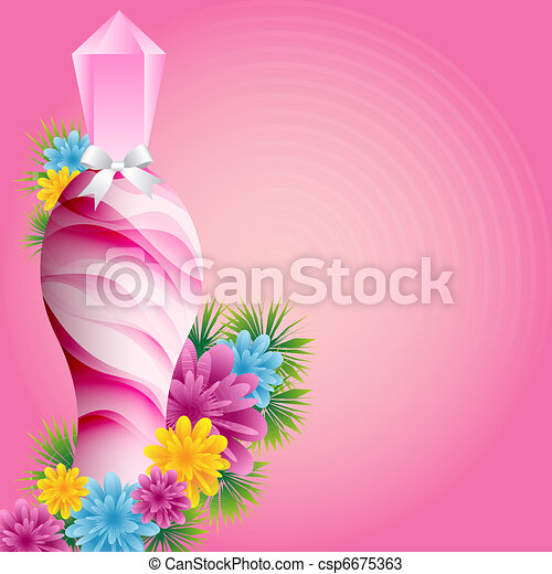 Perfume bottle and flowers - csp6675363