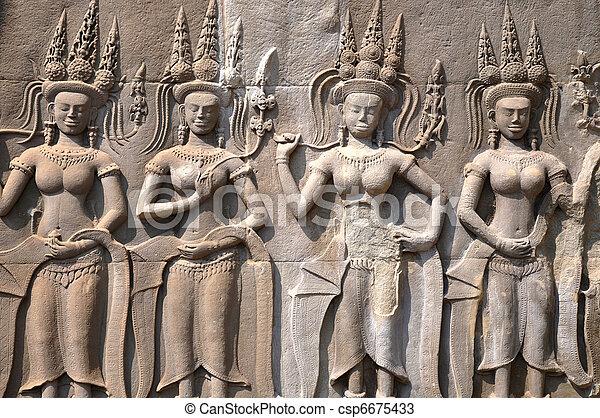 Historic rock art of goddess at Angkor, Cambodia - csp6675433