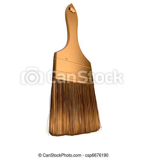 Housework: golden paintbrush isolated  - csp6676190