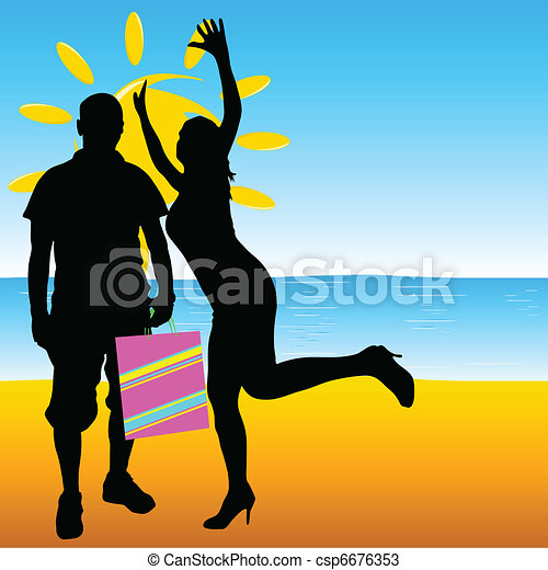 man and girl summer on the beach - csp6676353