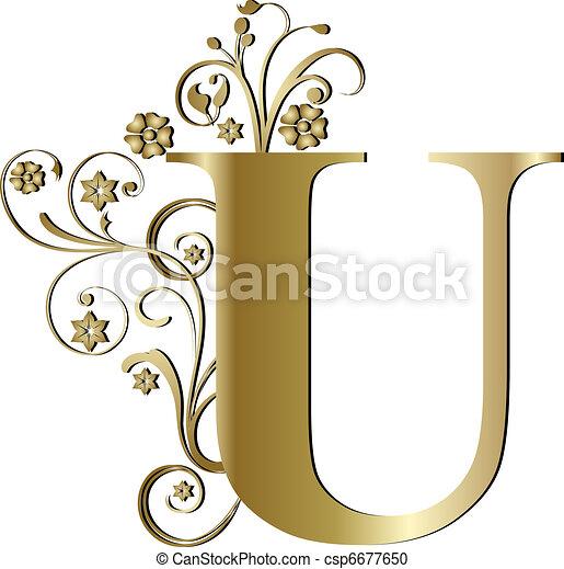 capital letter U gold - csp6677650