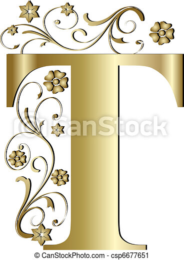 capital letter T gold - csp6677651