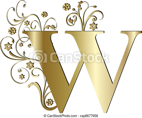capital letter W gold - csp6677656