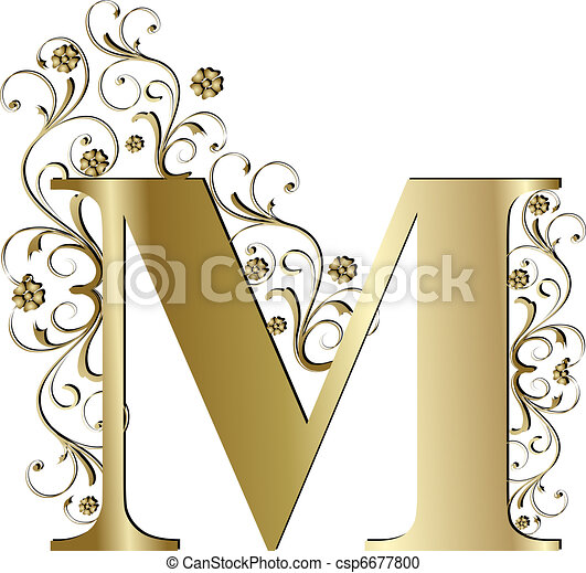 capital letter M gold - csp6677800