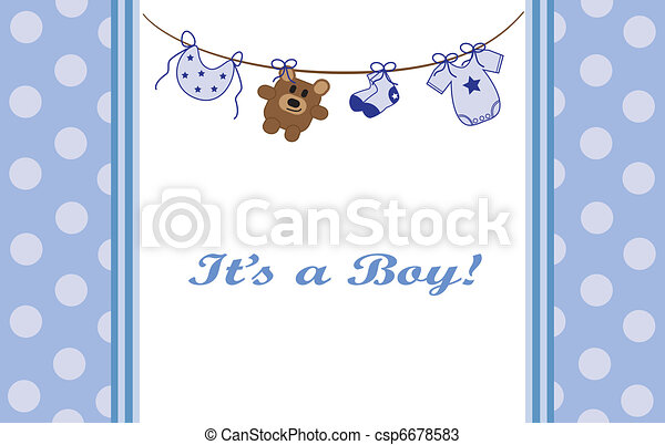 Blue Baby Boy Announcement - csp6678583