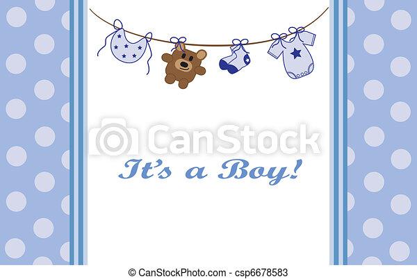 Blue Baby Boy Announcement - csp6678583