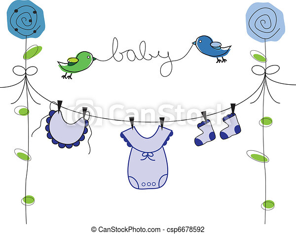 Baby Boy Clothes Line - csp6678592