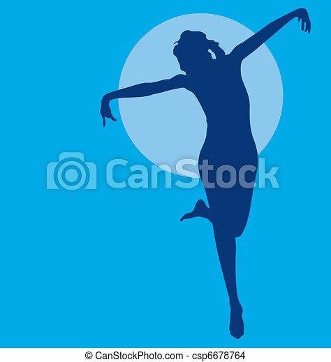 Dancing woman silhouette - csp6678764