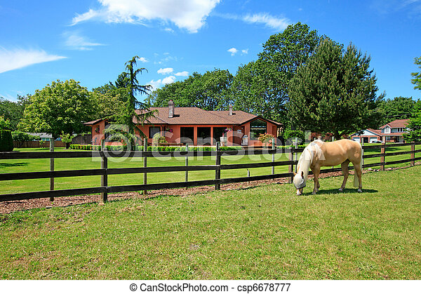 A horse ranch with a house and fence. - csp6678777