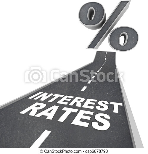 Road to Higher Interest Rates - Words on Street - csp6678790