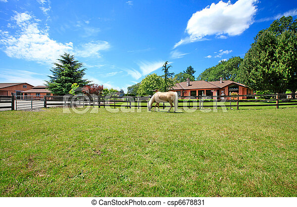 Stock photography of a horse ranch with a house and fence for Texas ranch piani casa con portici
