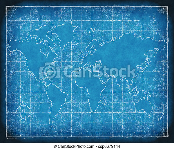 map of the world blueprint - csp6679144