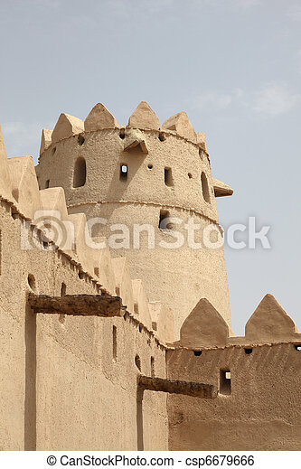 Tower of the ancient Al Jahili fort in Al Ain, Abu Dhabi - csp6679666