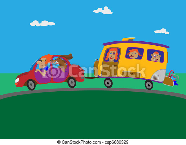 Journey to the sea on a trailer. - csp6680329