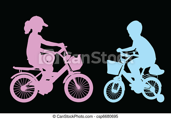 boy and girl riding bicycles - csp6680695