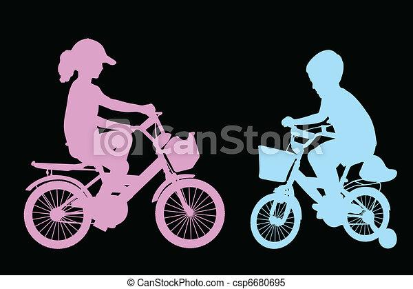 boy and girl riding bicycles - csp6680695