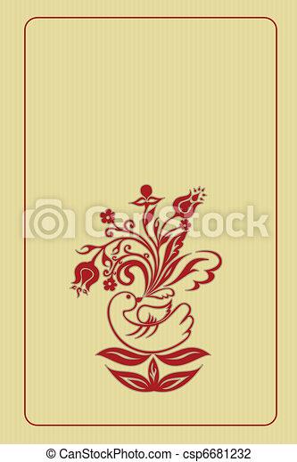 Folk art frame for invitation  - csp6681232