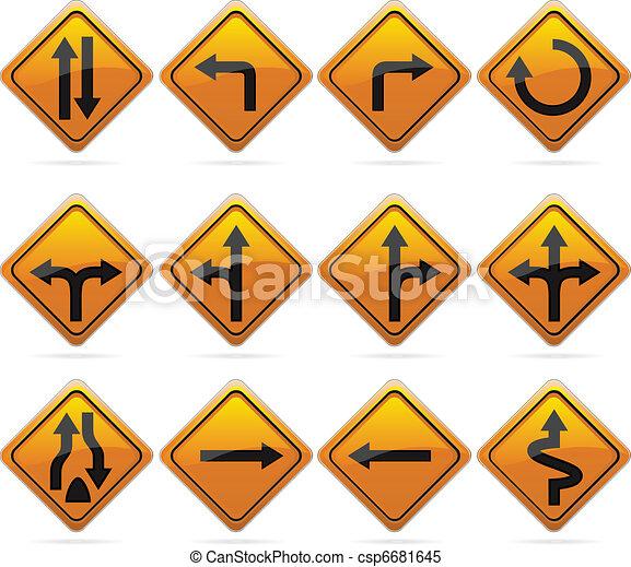 Glossy Diamond Road Arrow Signs - csp6681645