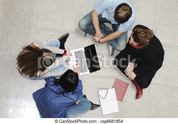 Creative group of students sitting and working together - csp6681854