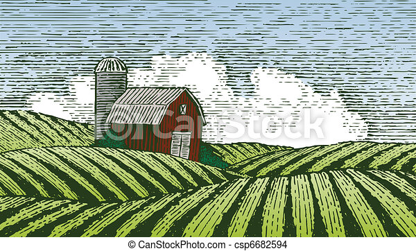 Woodcut Rural Scene - csp6682594