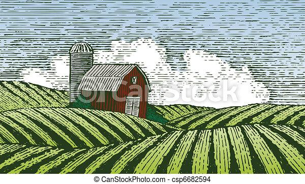 Woodcut Rural Scene - csp6682594