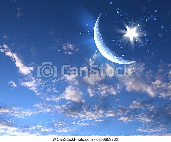 clip art de bleu ciel musulman toile lune symboles de islam csp6683782 recherchez. Black Bedroom Furniture Sets. Home Design Ideas