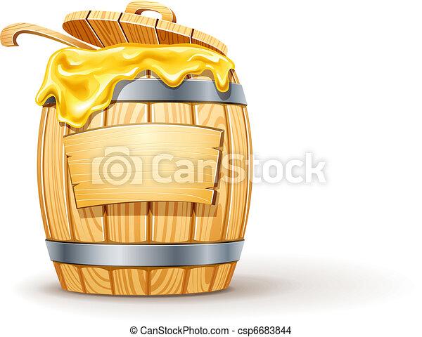 wooden barrel full of honey - csp6683844