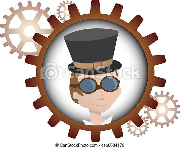 Youthful cartoon steampunk man insi - csp6684170