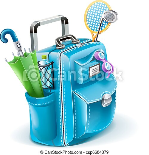 travel bag with objects for entertainment - csp6684379