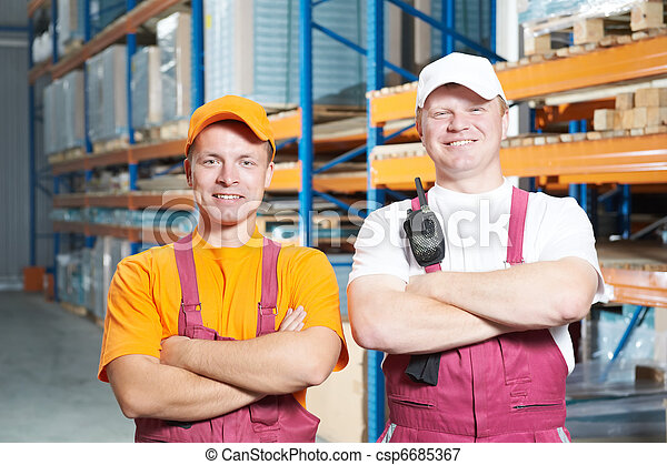 manual workers crew in warehouse - csp6685367