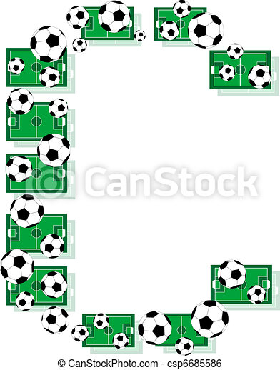 C, Alphabet Football letters made of soccer balls and fields - csp6685586