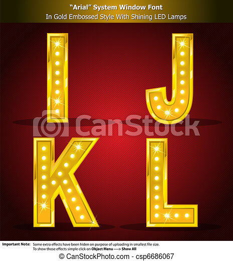Arial Font in Gold Style With Shini - csp6686067