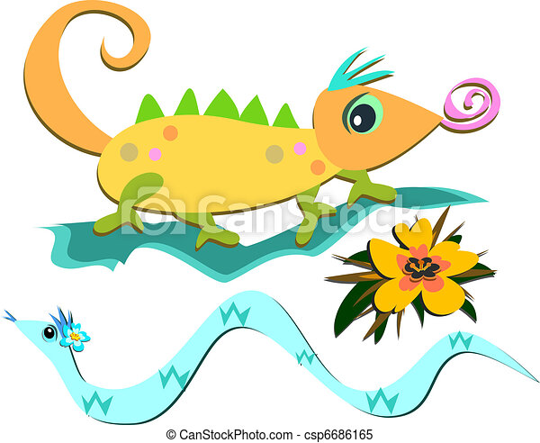 Mix of Reptiles and a Flower - csp6686165