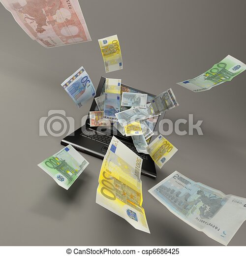 laptop and bank notes - csp6686425