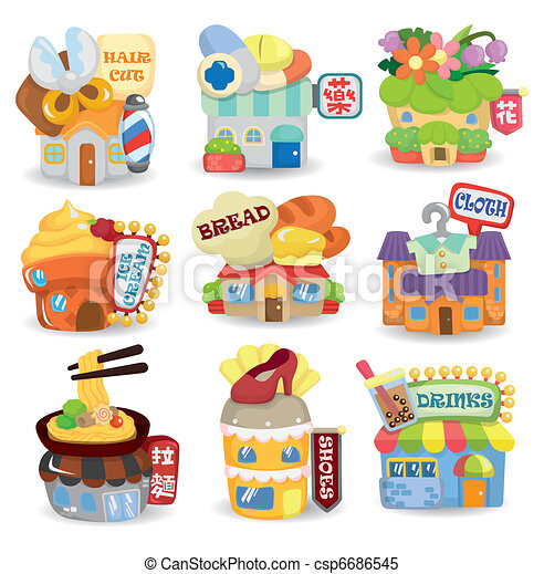 cartoon shop building icon set - csp6686545