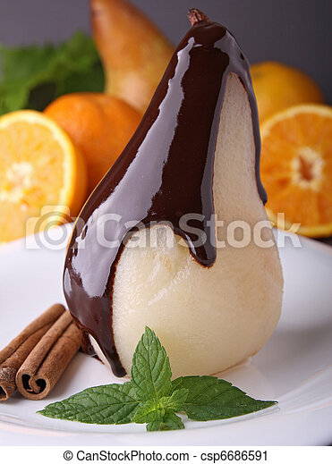 poached pear with chocolate - csp6686591