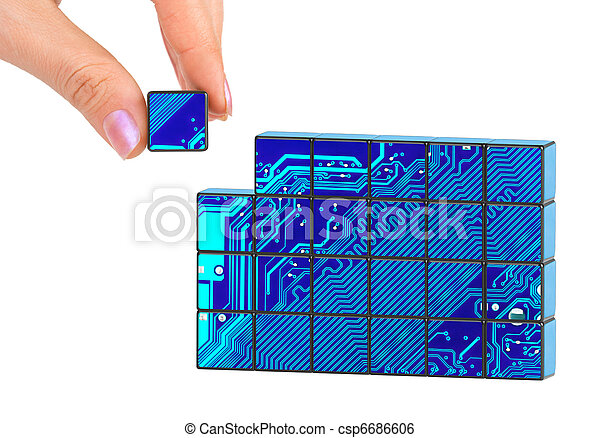 Hand and technology puzzle - csp6686606