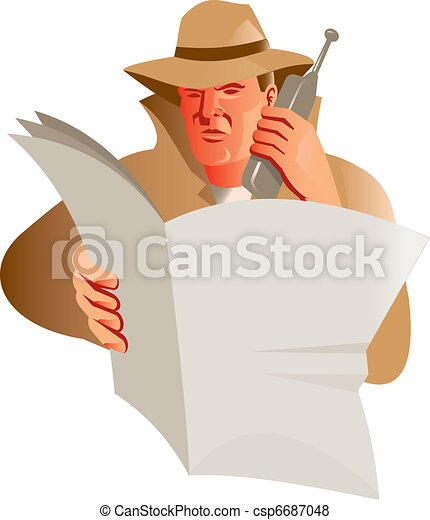 male detective calling cellphone newspaper - csp6687048
