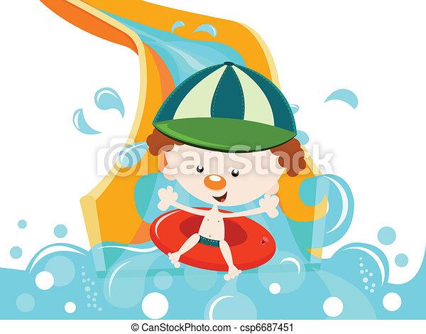 Boy Enjoying Water Slide - csp6687451