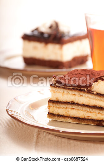 Portion of self-made tiramisu dessert - csp6687524