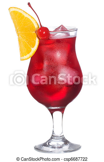 red alcohol cocktail with orange slice - csp6687722