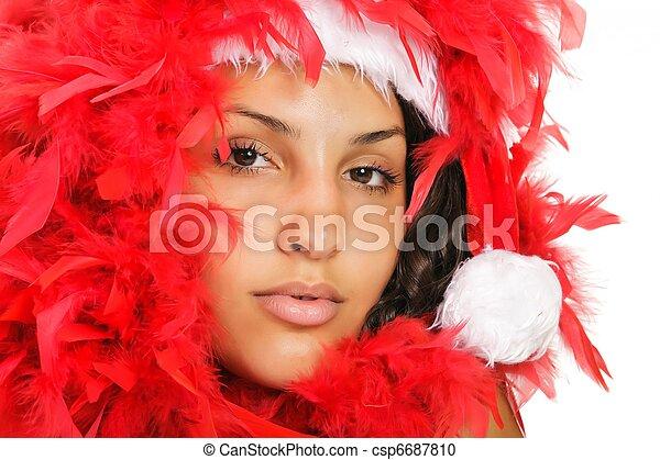 santa woman close portrait - csp6687810